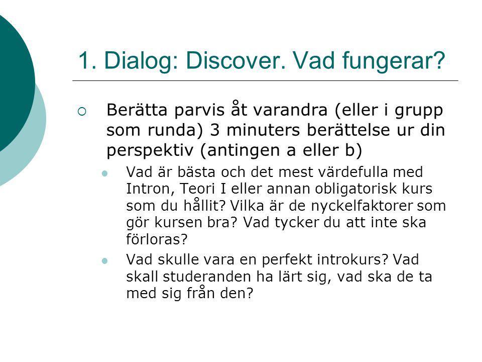 1. Dialog: Discover. Vad fungerar?  Berätta parvis åt varandra (eller i grupp som runda) 3 minuters berättelse ur din perspektiv (antingen a eller b)