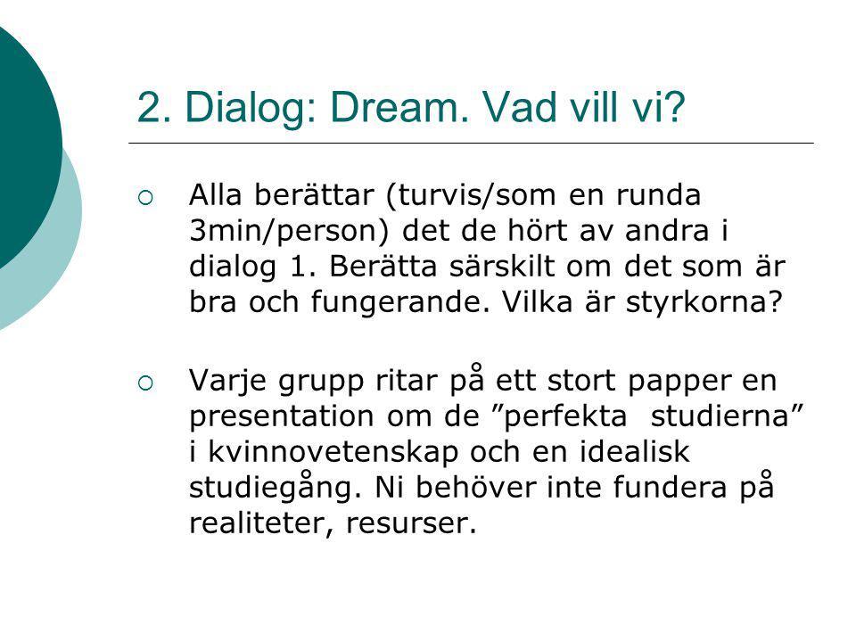 2. Dialog: Dream. Vad vill vi?  Alla berättar (turvis/som en runda 3min/person) det de hört av andra i dialog 1. Berätta särskilt om det som är bra o