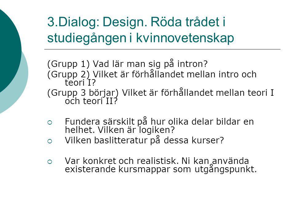 3.Dialog: Design. Röda trådet i studiegången i kvinnovetenskap (Grupp 1) Vad lär man sig på intron? (Grupp 2) Vilket är förhållandet mellan intro och