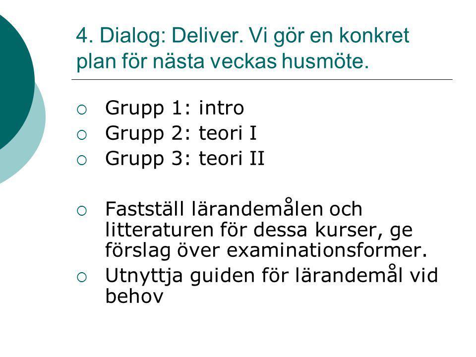 4. Dialog: Deliver. Vi gör en konkret plan för nästa veckas husmöte.  Grupp 1: intro  Grupp 2: teori I  Grupp 3: teori II  Fastställ lärandemålen