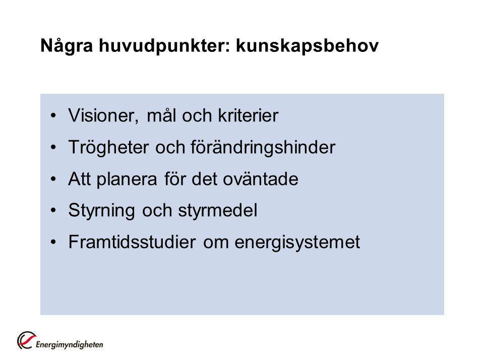 Några huvudpunkter: kunskapsbehov Visioner, mål och kriterier Trögheter och förändringshinder Att planera för det oväntade Styrning och styrmedel Framtidsstudier om energisystemet