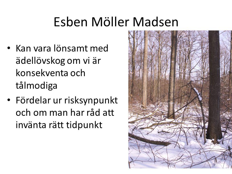 Esben Möller Madsen Kan vara lönsamt med ädellövskog om vi är konsekventa och tålmodiga Fördelar ur risksynpunkt och om man har råd att invänta rätt tidpunkt