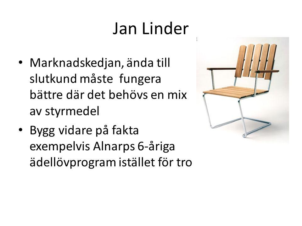 Jan Linder Marknadskedjan, ända till slutkund måste fungera bättre där det behövs en mix av styrmedel Bygg vidare på fakta exempelvis Alnarps 6-åriga ädellövprogram istället för tro