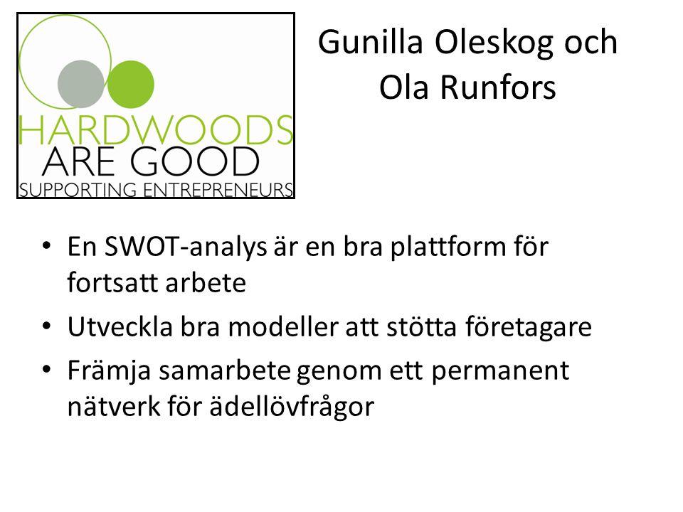 Gunilla Oleskog och Ola Runfors En SWOT-analys är en bra plattform för fortsatt arbete Utveckla bra modeller att stötta företagare Främja samarbete genom ett permanent nätverk för ädellövfrågor
