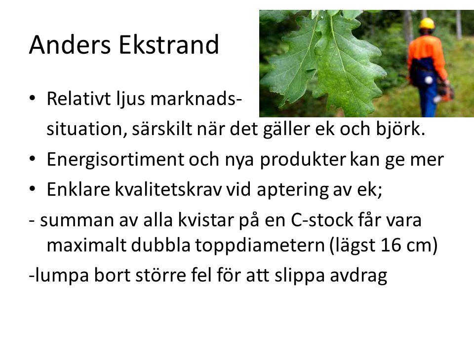 Anders Ekstrand Relativt ljus marknads- situation, särskilt när det gäller ek och björk. Energisortiment och nya produkter kan ge mer Enklare kvalitet