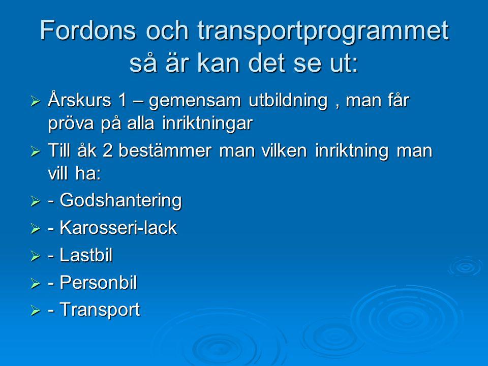 Fordons och transportprogrammet så är kan det se ut:  Årskurs 1 – gemensam utbildning, man får pröva på alla inriktningar  Till åk 2 bestämmer man vilken inriktning man vill ha:  - Godshantering  - Karosseri-lack  - Lastbil  - Personbil  - Transport
