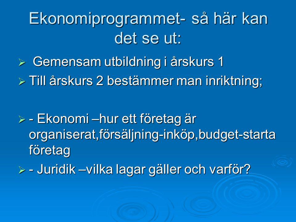 Ekonomiprogrammet- så här kan det se ut:  Gemensam utbildning i årskurs 1  Till årskurs 2 bestämmer man inriktning;  - Ekonomi –hur ett företag är organiserat,försäljning-inköp,budget-starta företag  - Juridik –vilka lagar gäller och varför?