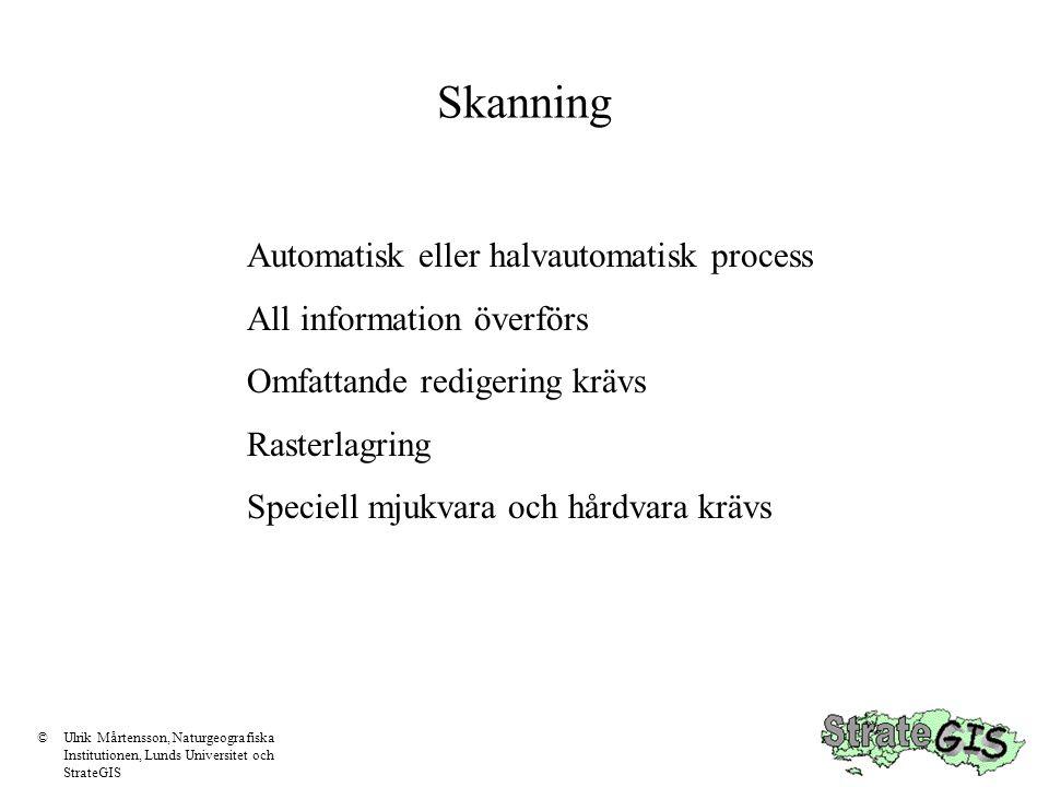 Skanning Automatisk eller halvautomatisk process All information överförs Omfattande redigering krävs Rasterlagring Speciell mjukvara och hårdvara krävs ©Ulrik Mårtensson, Naturgeografiska Institutionen, Lunds Universitet och StrateGIS