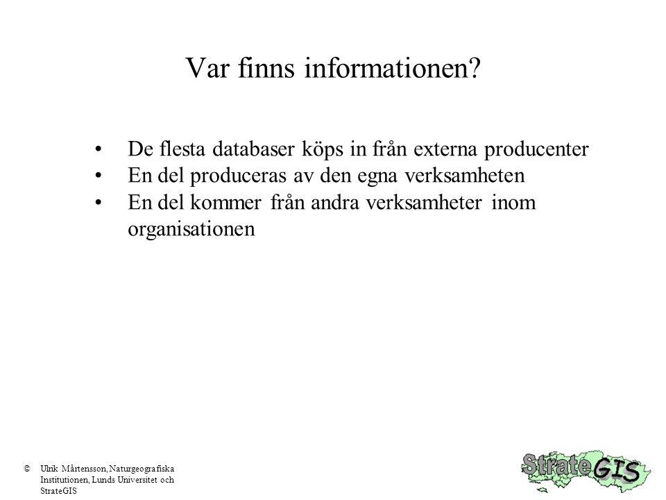 Att tänka på Harmonisera mellan olika källor Information med olika kvalitet bör ej blandas utan att detta tydligt framgår Anpassning till befintliga databaser Bygg in ajourhållning i databaskonceptet Dokumentera databasen ©Ulrik Mårtensson, Naturgeografiska Institutionen, Lunds Universitet och StrateGIS