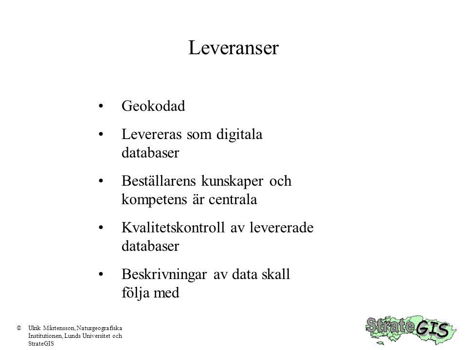 Leveranser Geokodad Levereras som digitala databaser Beställarens kunskaper och kompetens är centrala Kvalitetskontroll av levererade databaser Beskrivningar av data skall följa med ©Ulrik Mårtensson, Naturgeografiska Institutionen, Lunds Universitet och StrateGIS