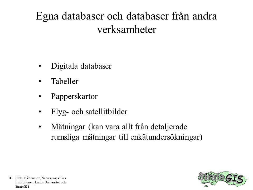 Digitala databaser Geokodning Format Projektion Tillgänglighet Nyttjanderätt ©Ulrik Mårtensson, Naturgeografiska Institutionen, Lunds Universitet och StrateGIS