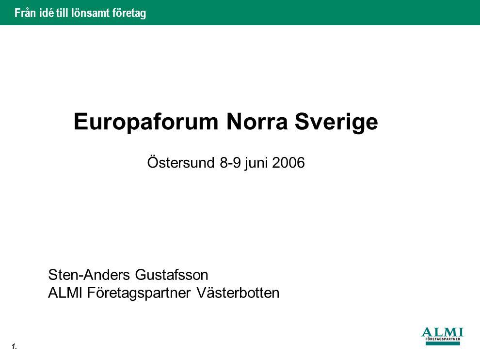 Från idé till lönsamt företag 1. Europaforum Norra Sverige Östersund 8-9 juni 2006 Sten-Anders Gustafsson ALMI Företagspartner Västerbotten