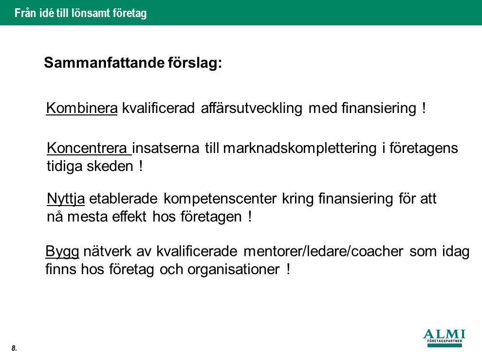Från idé till lönsamt företag 8. Sammanfattande förslag: Kombinera kvalificerad affärsutveckling med finansiering ! Koncentrera insatserna till markna