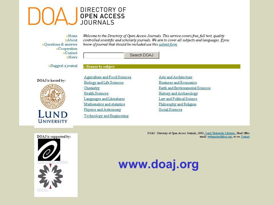 Ingegerd Rabow, Lunds Universitet, Biblioteksdirektionen DOAJ is hosted by: DOAJ is supported by: Open Society Institute SPARC www.doaj.org