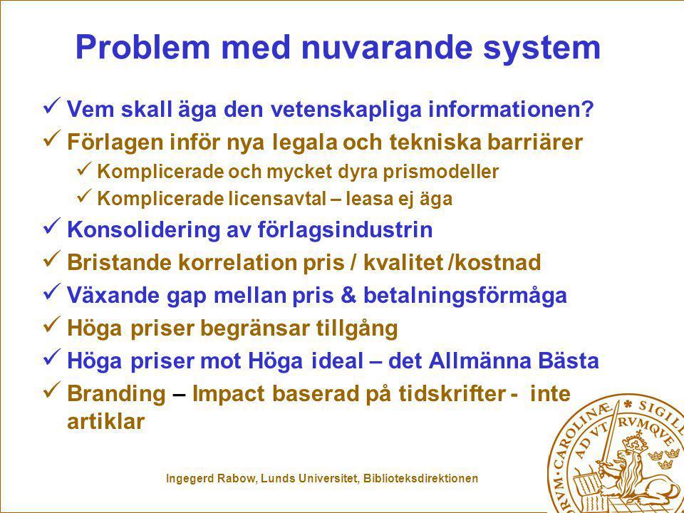 Ingegerd Rabow, Lunds Universitet, Biblioteksdirektionen Problem med nuvarande system Vem skall äga den vetenskapliga informationen.