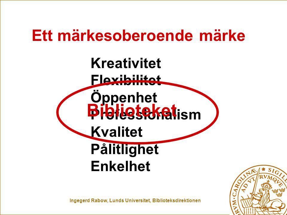Ingegerd Rabow, Lunds Universitet, Biblioteksdirektionen Kreativitet Flexibilitet Öppenhet Professionalism Kvalitet Pålitlighet Enkelhet Ett märkesoberoende märke Biblioteket