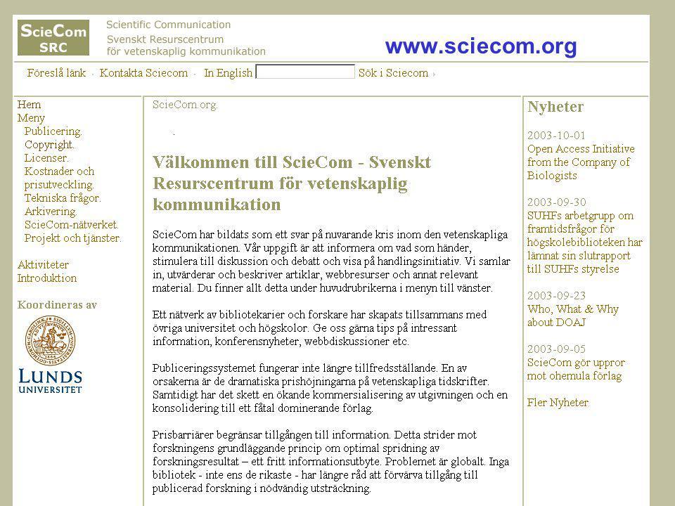 Ingegerd Rabow, Lunds Universitet, Biblioteksdirektionen www.sciecom.org
