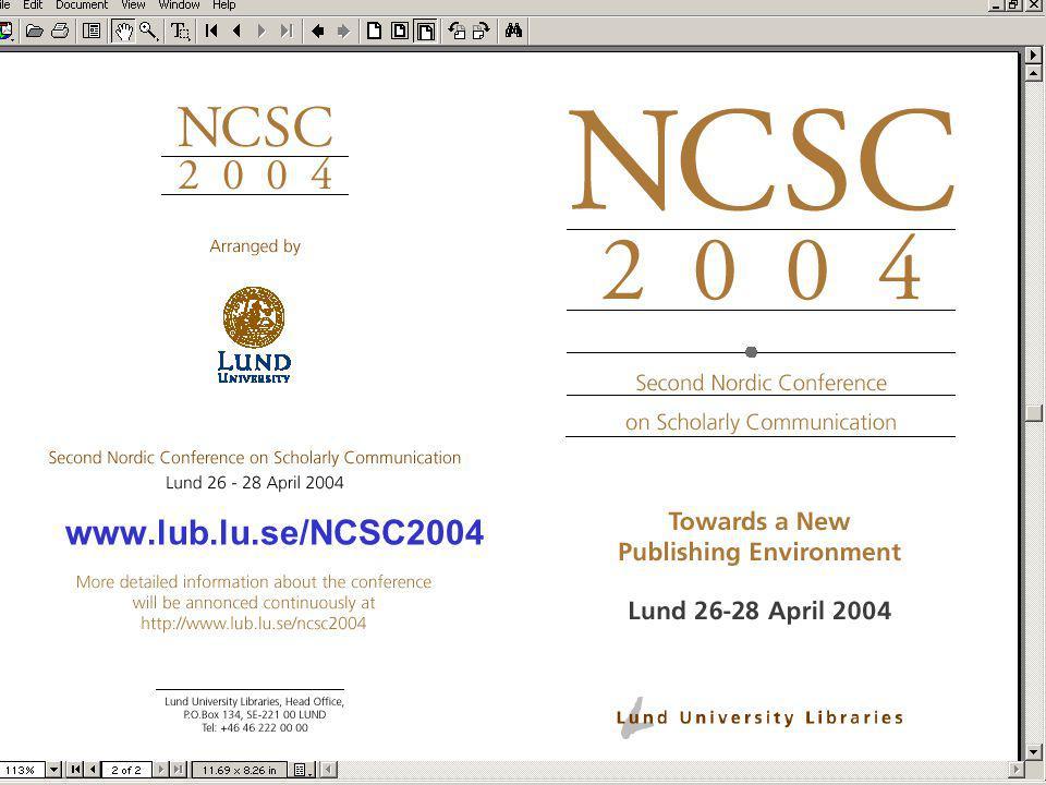 Ingegerd Rabow, Lunds Universitet, Biblioteksdirektionen www.lub.lu.se/NCSC2004