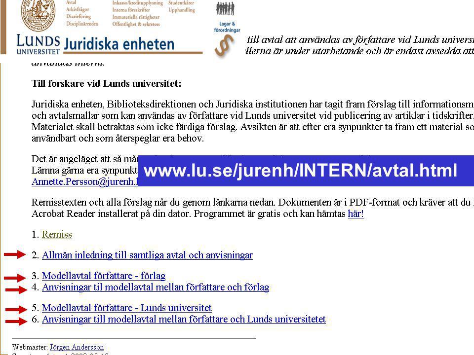 Ingegerd Rabow, Lunds Universitet, Biblioteksdirektionen www.lu.se/jurenh/INTERN/avtal.html Jurenheten