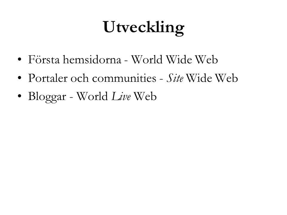 Utveckling Första hemsidorna - World Wide Web Portaler och communities - Site Wide Web Bloggar - World Live Web