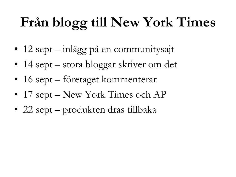 Från blogg till New York Times 12 sept – inlägg på en communitysajt 14 sept – stora bloggar skriver om det 16 sept – företaget kommenterar 17 sept – New York Times och AP 22 sept – produkten dras tillbaka