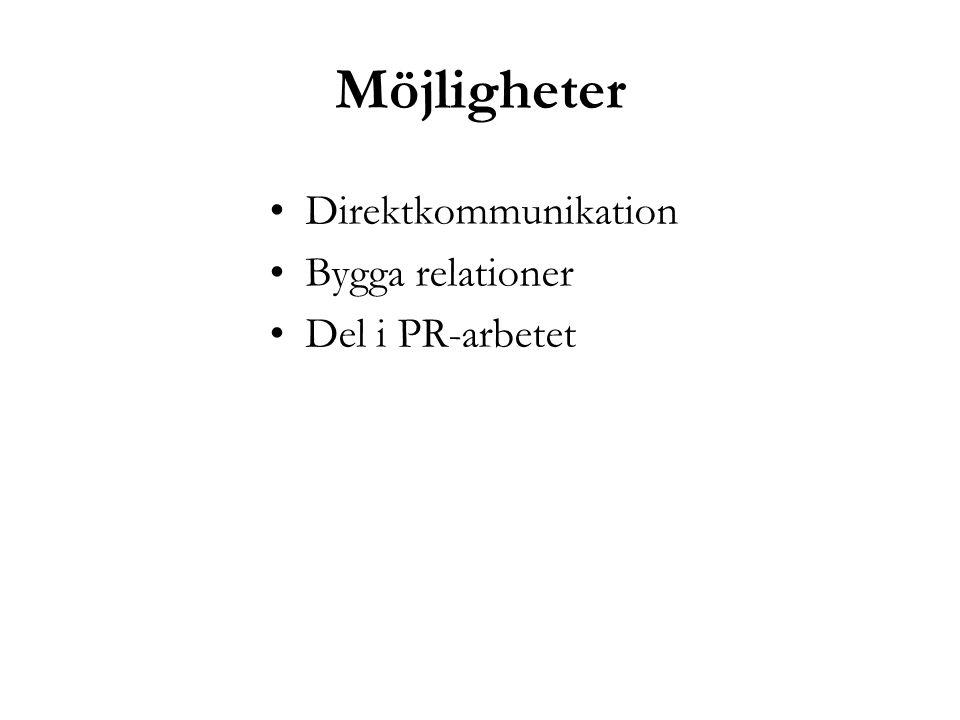 Möjligheter Direktkommunikation Bygga relationer Del i PR-arbetet