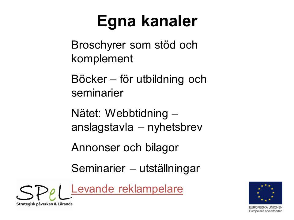 Egna kanaler Broschyrer som stöd och komplement Böcker – för utbildning och seminarier Nätet: Webbtidning – anslagstavla – nyhetsbrev Annonser och bil
