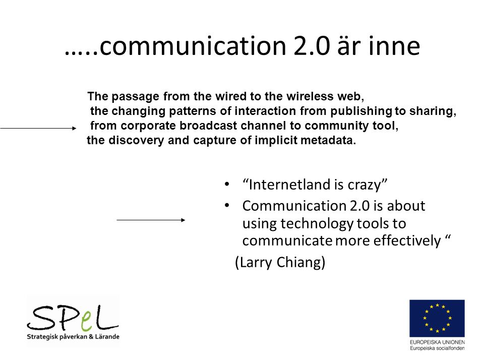 …..communication 2.0 är inne Internetland is crazy Communication 2.0 is about using technology tools to communicate more effectively (Larry Chiang) The passage from the wired to the wireless web, the changing patterns of interaction from publishing to sharing, from corporate broadcast channel to community tool, the discovery and capture of implicit metadata.