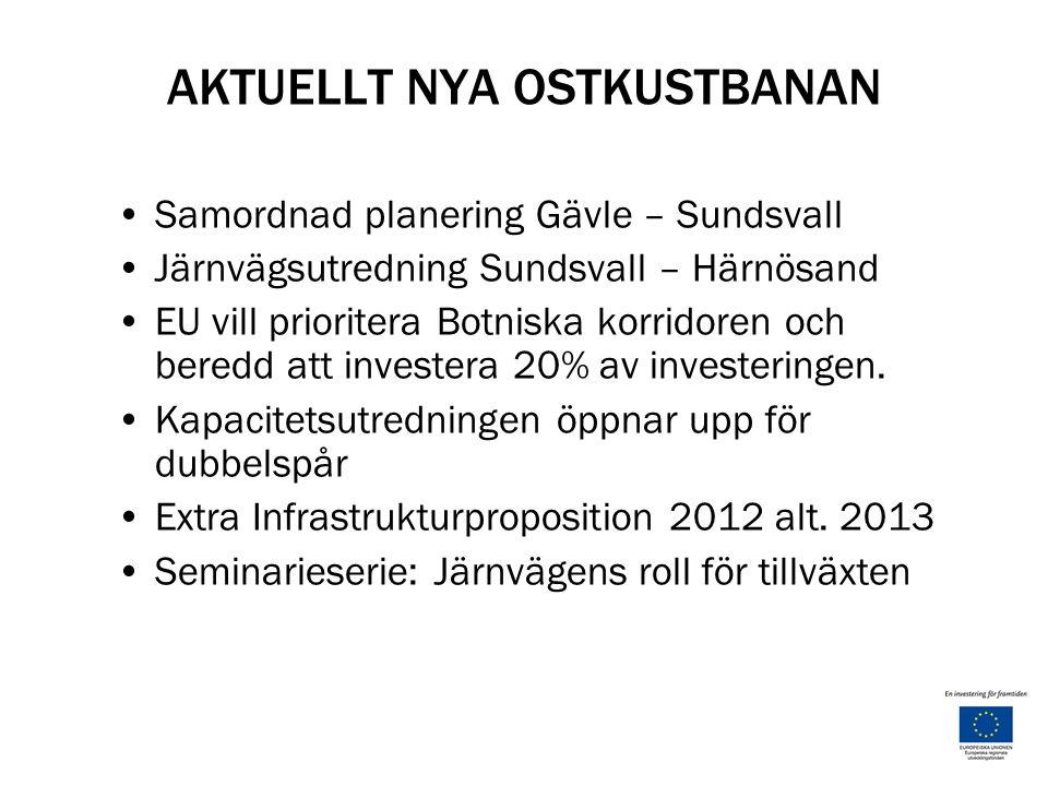 AKTUELLT NYA OSTKUSTBANAN Samordnad planering Gävle – Sundsvall Järnvägsutredning Sundsvall – Härnösand EU vill prioritera Botniska korridoren och beredd att investera 20% av investeringen.