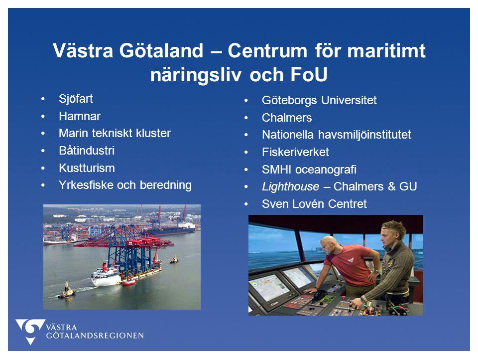 Västra Götaland – Centrum för maritimt näringsliv och FoU Sjöfart Hamnar Marin tekniskt kluster Båtindustri Kustturism Yrkesfiske och beredning Götebo