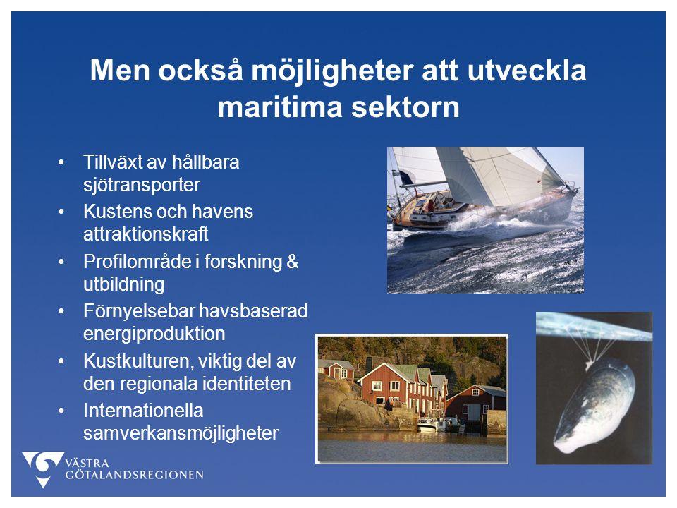Men också möjligheter att utveckla maritima sektorn Tillväxt av hållbara sjötransporter Kustens och havens attraktionskraft Profilområde i forskning &