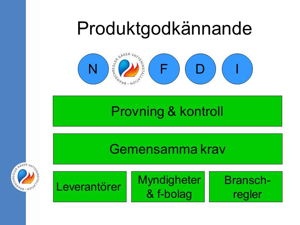 Produktgodkännande Leverantörer Myndigheter & f-bolag Bransch- regler Gemensamma krav Provning & kontroll NIDFS