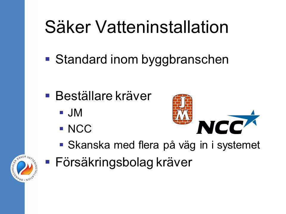Säker Vatteninstallation  Standard inom byggbranschen  Beställare kräver  JM  NCC  Skanska med flera på väg in i systemet  Försäkringsbolag kräver
