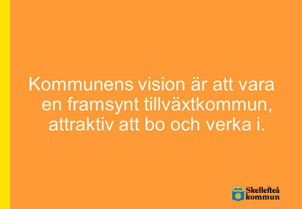 Kommunens vision är att vara en framsynt tillväxtkommun, attraktiv att bo och verka i.