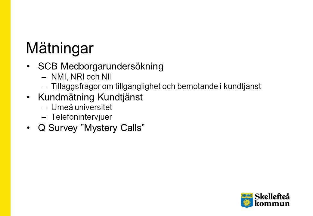 Mätningar SCB Medborgarundersökning –NMI, NRI och NII –Tilläggsfrågor om tillgänglighet och bemötande i kundtjänst Kundmätning Kundtjänst –Umeå univer