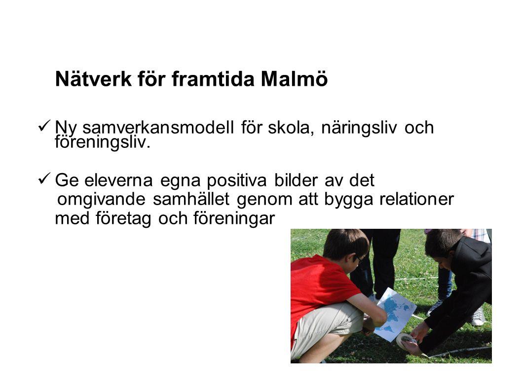 Nätverk för framtida Malmö Ny samverkansmodell för skola, näringsliv och föreningsliv. Ge eleverna egna positiva bilder av det omgivande samhället gen