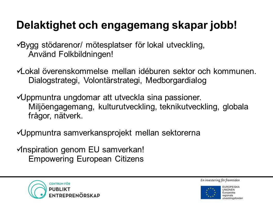 Delaktighet och engagemang skapar jobb! Bygg stödarenor/ mötesplatser för lokal utveckling, Använd Folkbildningen! Lokal överenskommelse mellan idébur