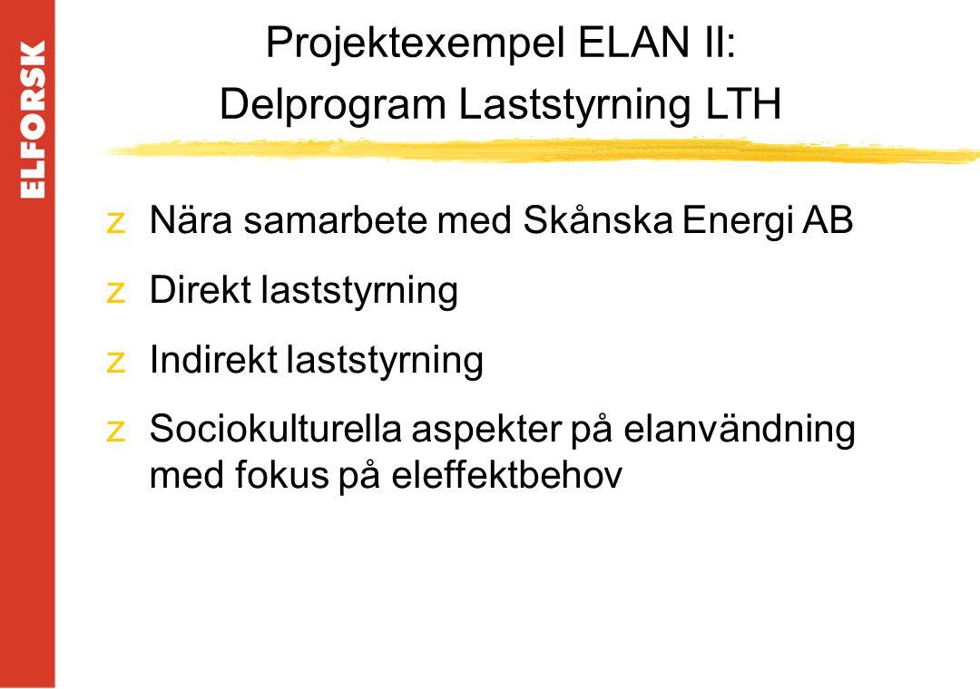 zNära samarbete med Skånska Energi AB zDirekt laststyrning zIndirekt laststyrning zSociokulturella aspekter på elanvändning med fokus på eleffektbehov Projektexempel ELAN II: Delprogram Laststyrning LTH
