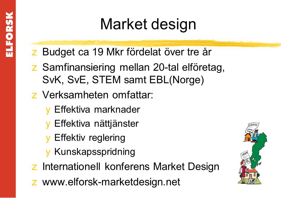 Market design zBudget ca 19 Mkr fördelat över tre år zSamfinansiering mellan 20-tal elföretag, SvK, SvE, STEM samt EBL(Norge) zVerksamheten omfattar: yEffektiva marknader yEffektiva nättjänster yEffektiv reglering yKunskapsspridning zInternationell konferens Market Design zwww.elforsk-marketdesign.net