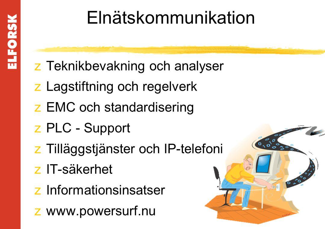 Elnätskommunikation zTeknikbevakning och analyser zLagstiftning och regelverk zEMC och standardisering zPLC - Support zTilläggstjänster och IP-telefoni zIT-säkerhet zInformationsinsatser zwww.powersurf.nu