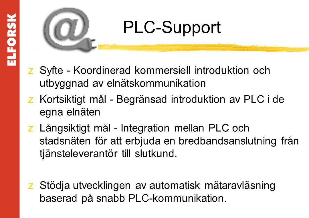 PLC-Support zSyfte - Koordinerad kommersiell introduktion och utbyggnad av elnätskommunikation zKortsiktigt mål - Begränsad introduktion av PLC i de egna elnäten zLångsiktigt mål - Integration mellan PLC och stadsnäten för att erbjuda en bredbandsanslutning från tjänsteleverantör till slutkund.
