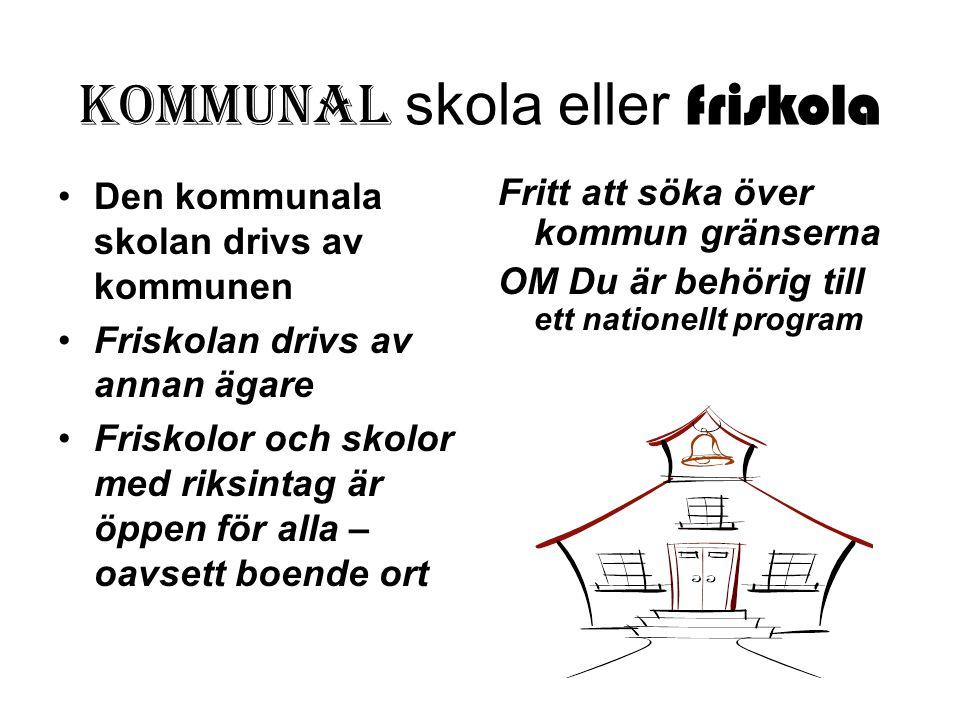 Kommunal skola eller friskola Den kommunala skolan drivs av kommunen Friskolan drivs av annan ägare Friskolor och skolor med riksintag är öppen för al
