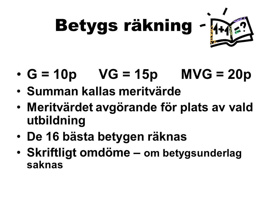 Betygs räkning G = 10pVG = 15pMVG = 20p Summan kallas meritvärde Meritvärdet avgörande för plats av vald utbildning De 16 bästa betygen räknas Skriftl