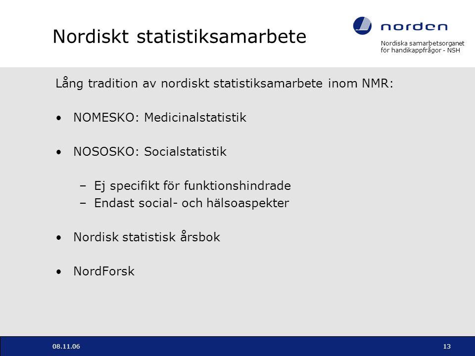 Nordiska samarbetsorganet för handikappfrågor - NSH 08.11.0613 Nordiskt statistiksamarbete Lång tradition av nordiskt statistiksamarbete inom NMR: NOM