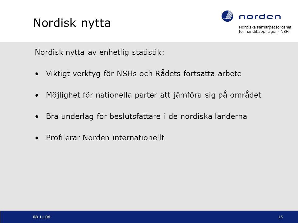 Nordiska samarbetsorganet för handikappfrågor - NSH 08.11.0615 Nordisk nytta Nordisk nytta av enhetlig statistik: Viktigt verktyg för NSHs och Rådets