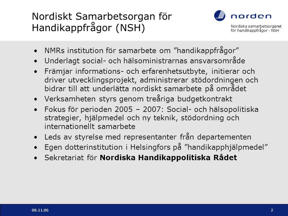 Nordiska samarbetsorganet för handikappfrågor - NSH 08.11.063 Nordiska Handikappolitiska Rådet Policyskapande och rådgivande organ för hela NMR Etablerat 1997 Utnämnt av de nordiska samarbetsministrarna Består av parlamentariker, tjänestemän och representanter för de självstyrande områdena samt brukarorganisastioner (19 medlemmar) Har etablerat fem sektornätverk (utbildning, arbete, transport, kultur och bygg- och samhällsplanering) Har tilldelats ett speciellt ansvar för att följa upp NMRs Handlingsprogram för Design för alla Sekretariatet är förankrat i NSH
