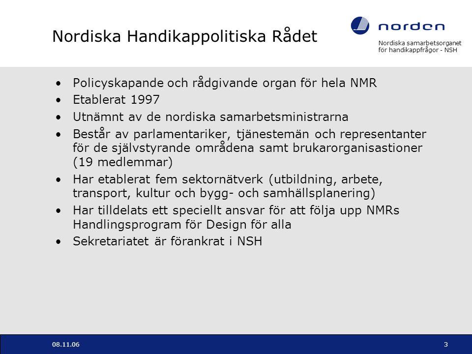 Nordiska samarbetsorganet för handikappfrågor - NSH 08.11.063 Nordiska Handikappolitiska Rådet Policyskapande och rådgivande organ för hela NMR Etable