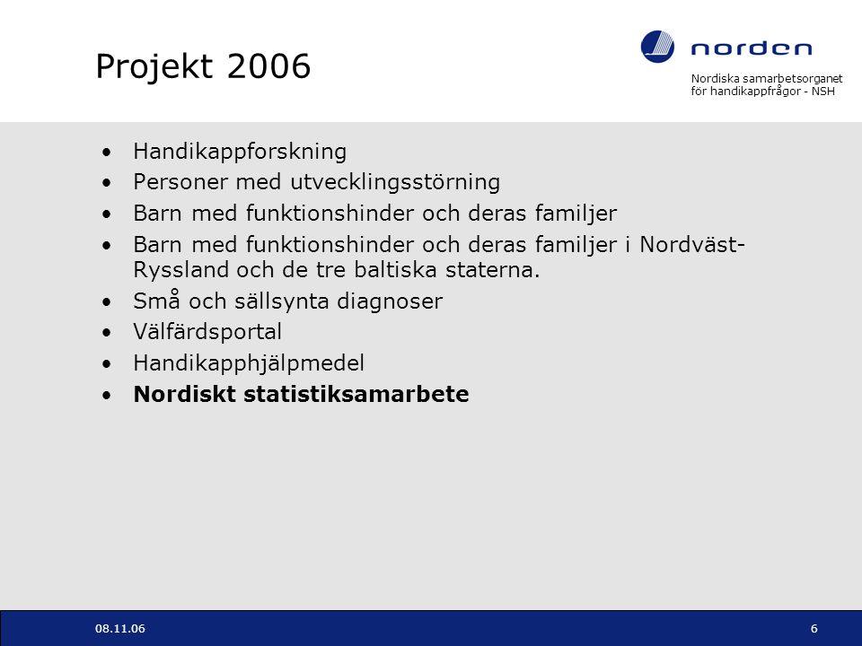 Nordiska samarbetsorganet för handikappfrågor - NSH 08.11.066 Projekt 2006 Handikappforskning Personer med utvecklingsstörning Barn med funktionshinde