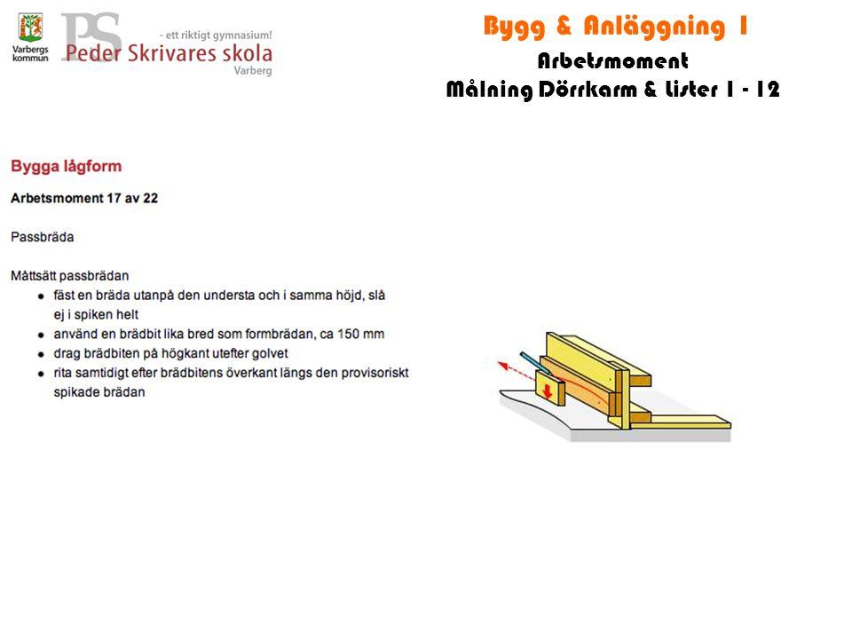 Bygg & Anläggning 1 Arbetsmoment Målning Dörrkarm & Lister 1 - 12