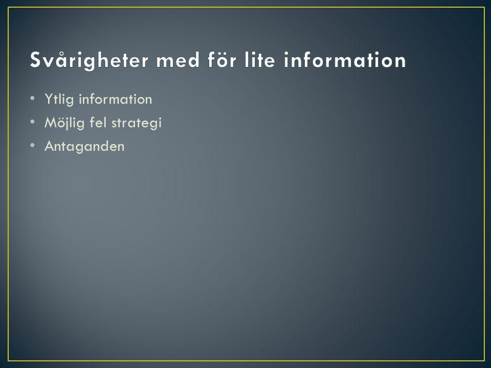 Ytlig information Möjlig fel strategi Antaganden